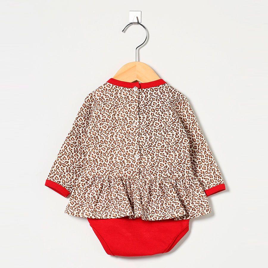 Body Feminino em Malha Oncinha Palha/Vermelho Lili  - Toca do Bebê