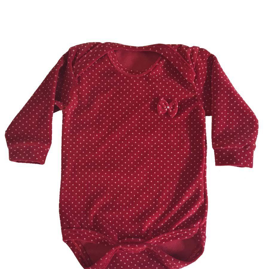 Body Poá Plush Vermelho