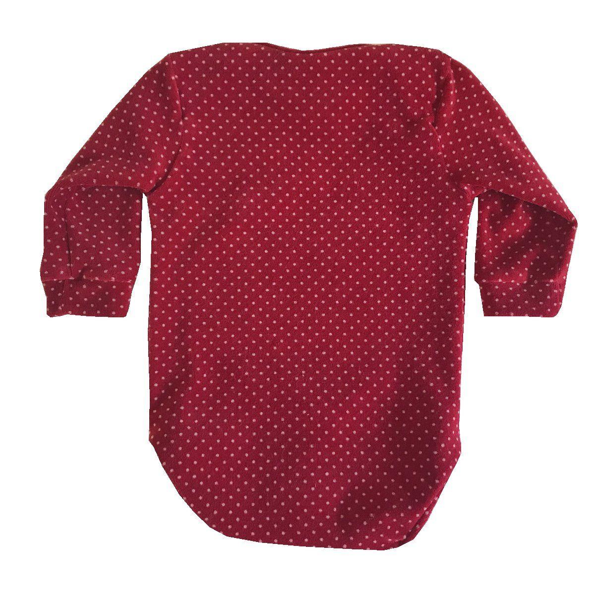 Body Poá Plush Vermelho  - Toca do Bebê