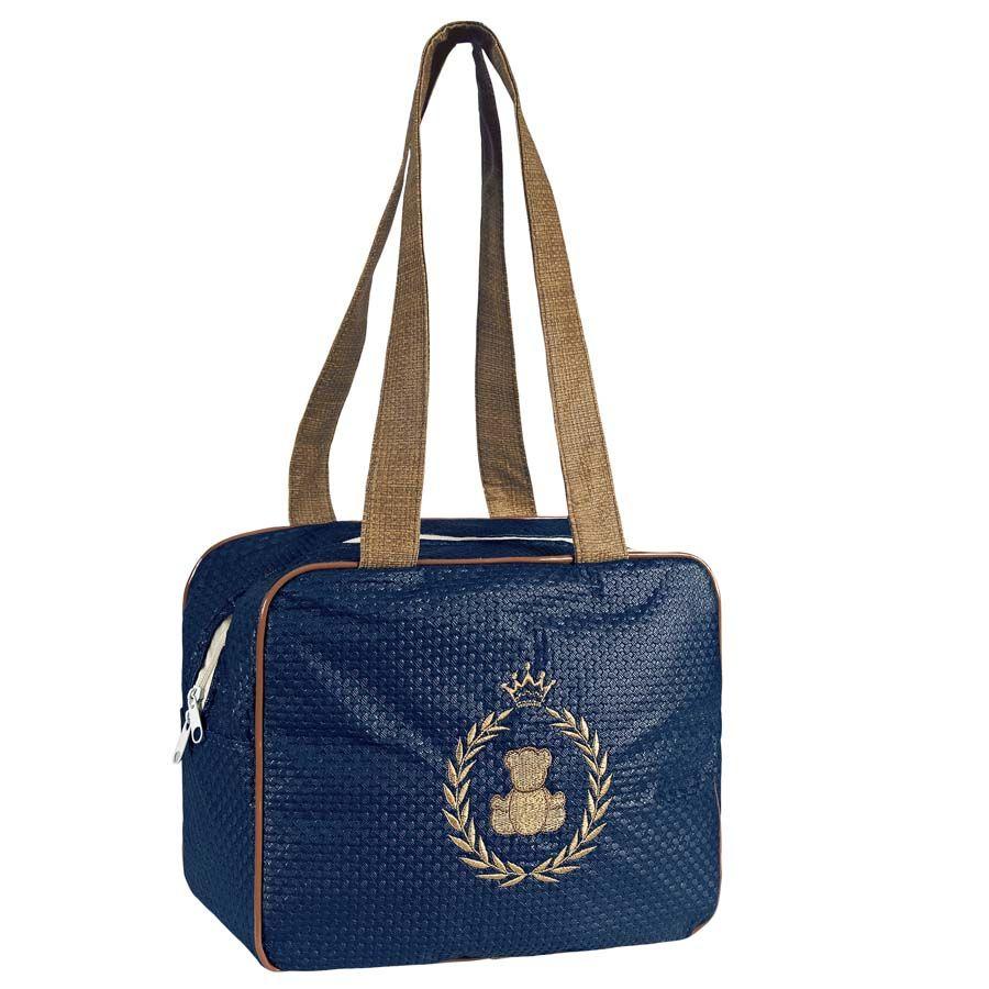Bolsa Maternidade Trançadinho Azul Marinho com Marrom P.