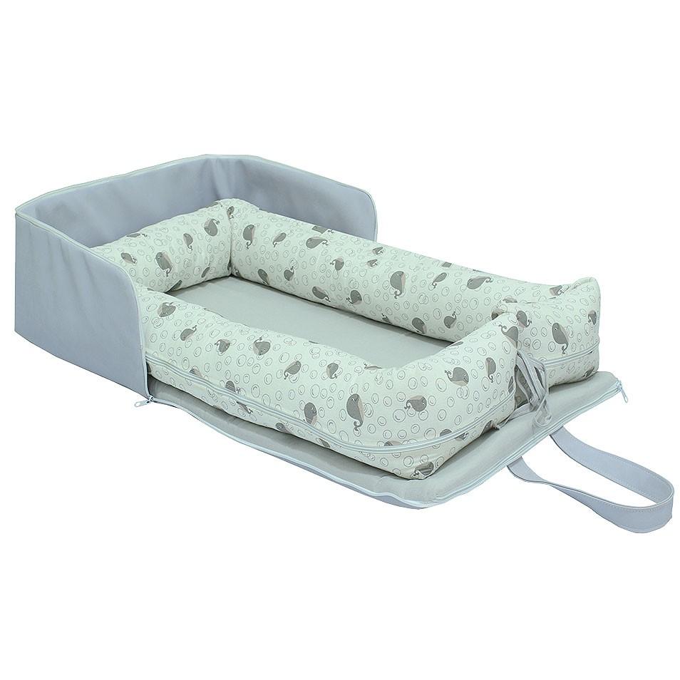 Bolsa Ninho Portátil Baleia  - Toca do Bebê