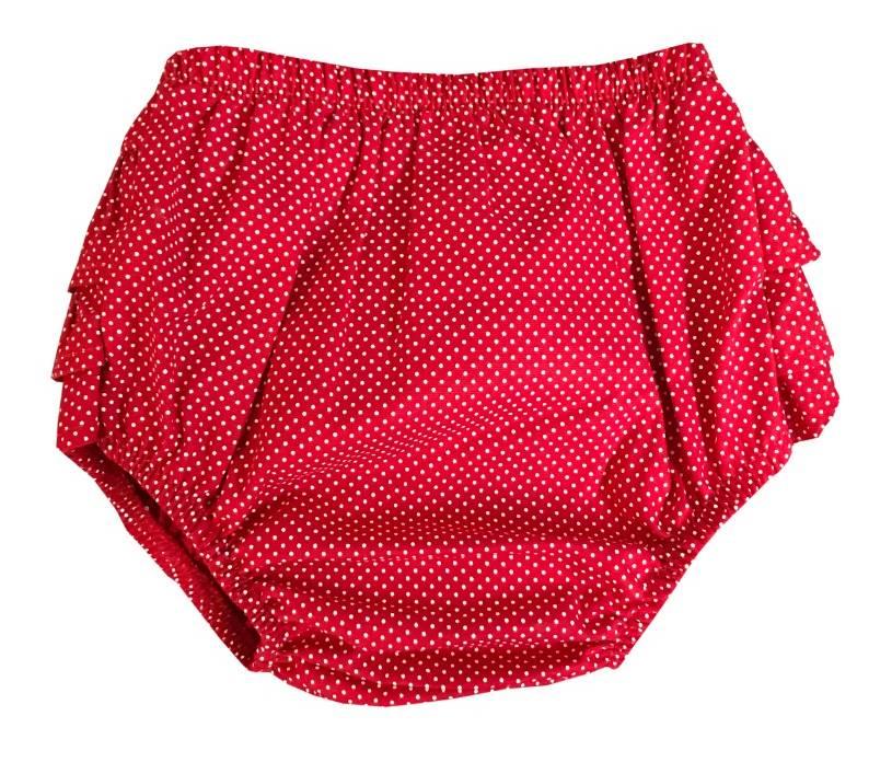 Calcinha Bunda Rica Vermelho Poá   - Toca do Bebê