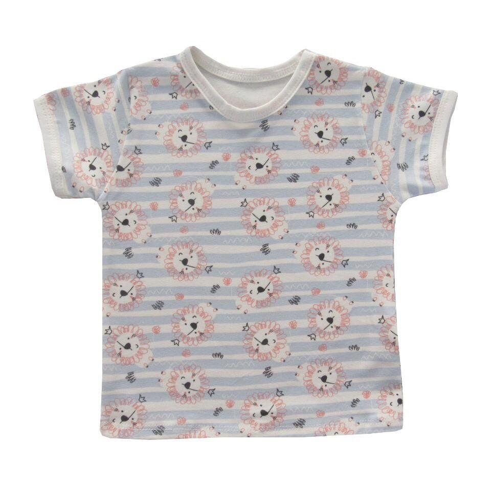 Camiseta Manga Curta Leãozinho Azul Bebê  - Toca do Bebê