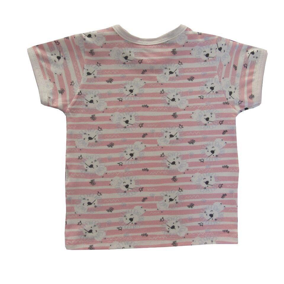 Camiseta Manga Curta Leãozinho Rosa  - Toca do Bebê