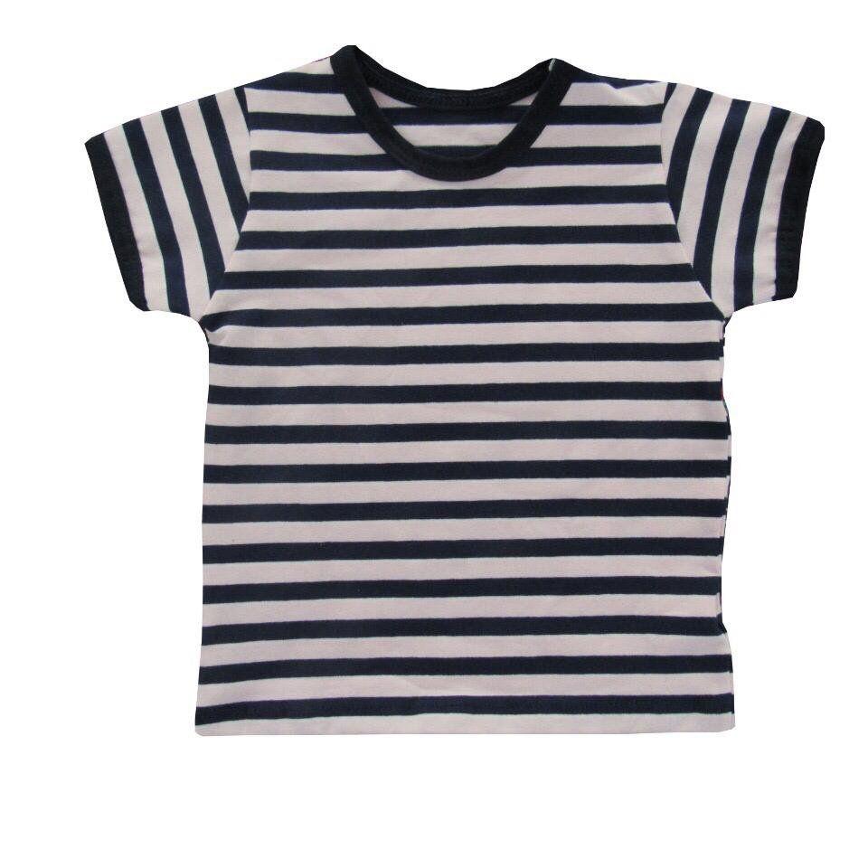 Camiseta manga curta listrada Azul Marinho com rosa
