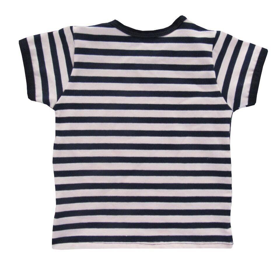 Camiseta manga curta listrada Azul Marinho com rosa  - Toca do Bebê