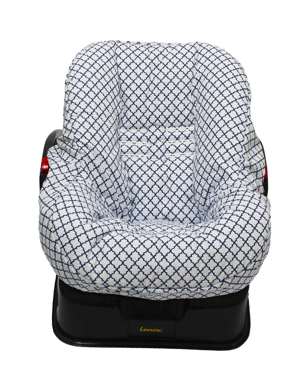 Capa de Bebê Conforto Dupla Face Arabesco Marinho