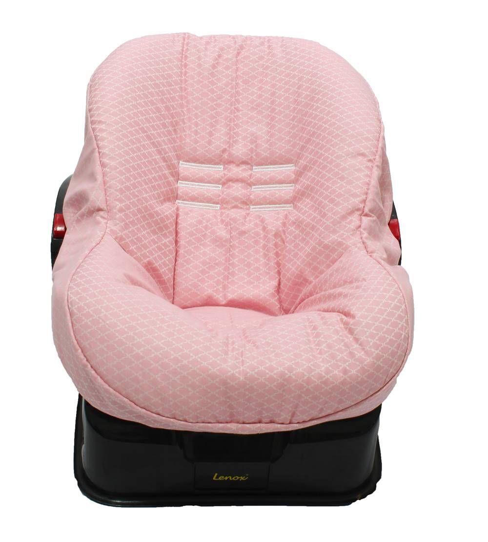 Capa de Bebê Conforto Dupla Face Arabesco Rosa Jacard