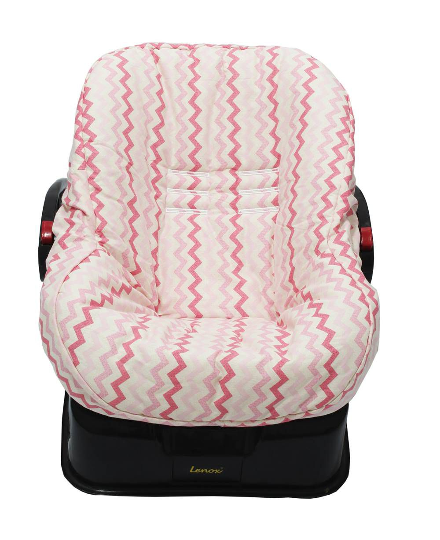 Capa de Bebê Conforto Dupla Face Chevron Pink
