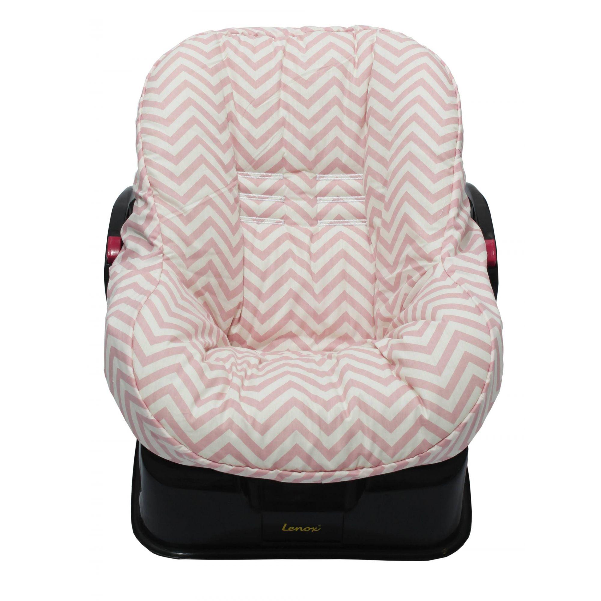 Capa de Bebê Conforto Dupla Face Chevron Rosê