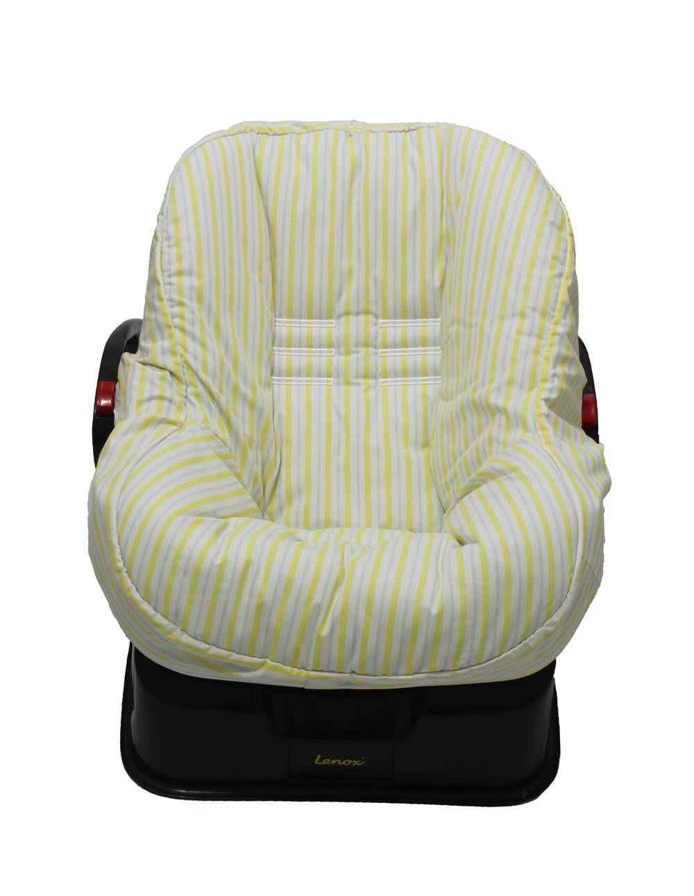 Capa de Bebê Conforto Dupla Face Listrado Amarelo