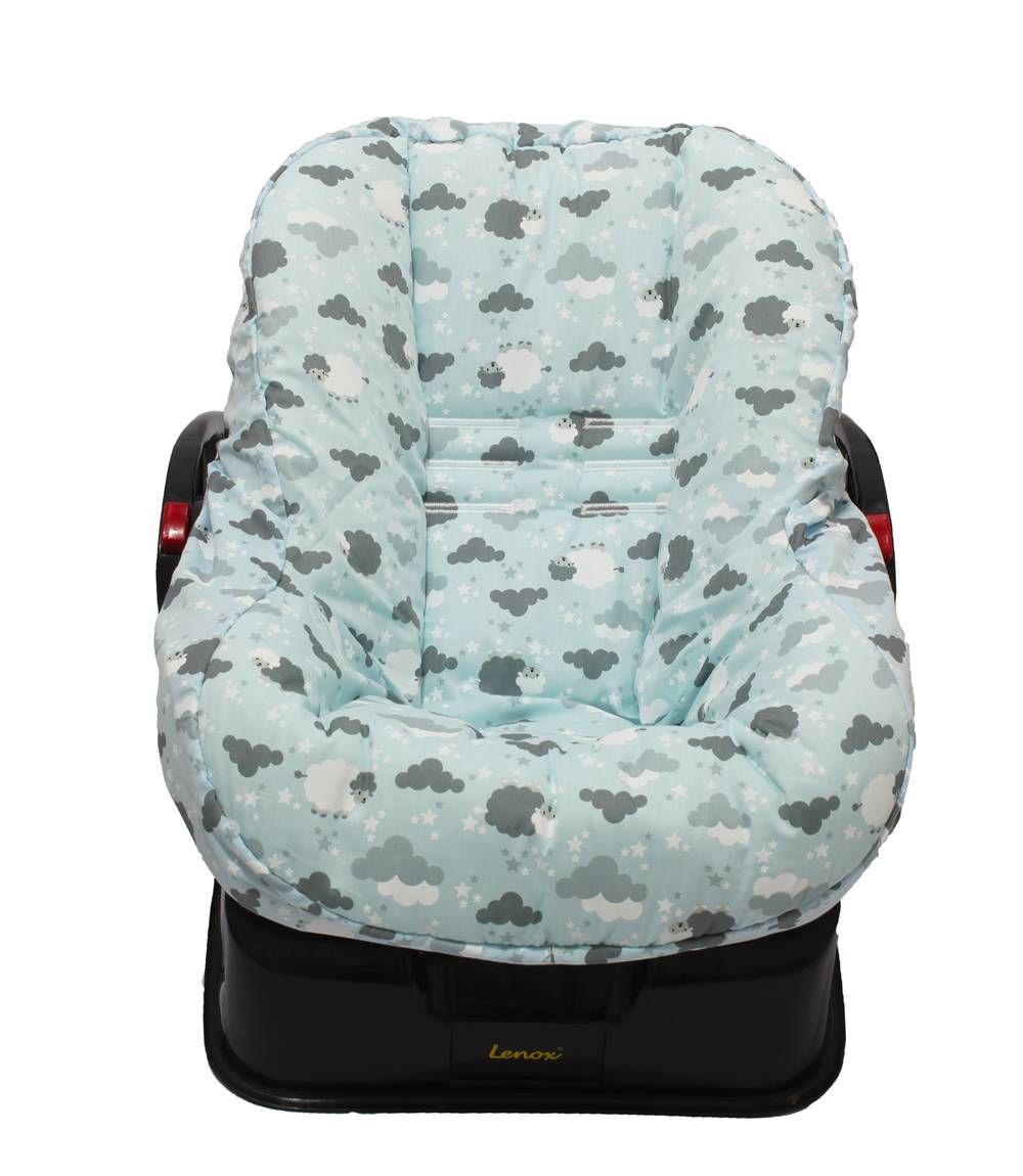 Capa de Bebê Conforto Dupla Face Ovelha Azul