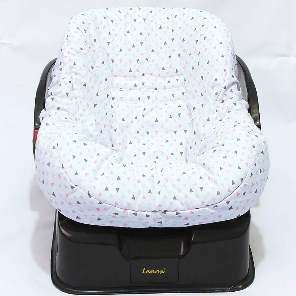 Capa de Bebê Conforto Dupla Face Triângulo Branco com Rosa