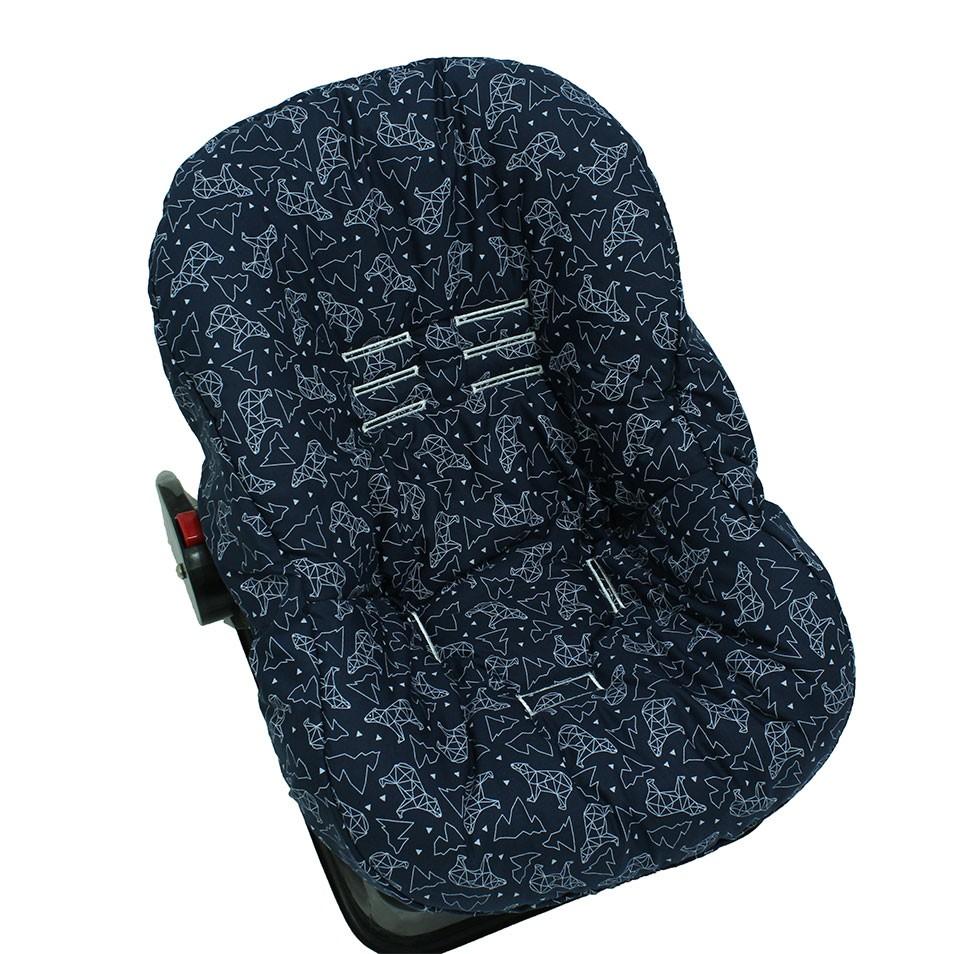 Capa de Bebê Conforto Dupla Face Urso Dimensional Marinho   - Toca do Bebê