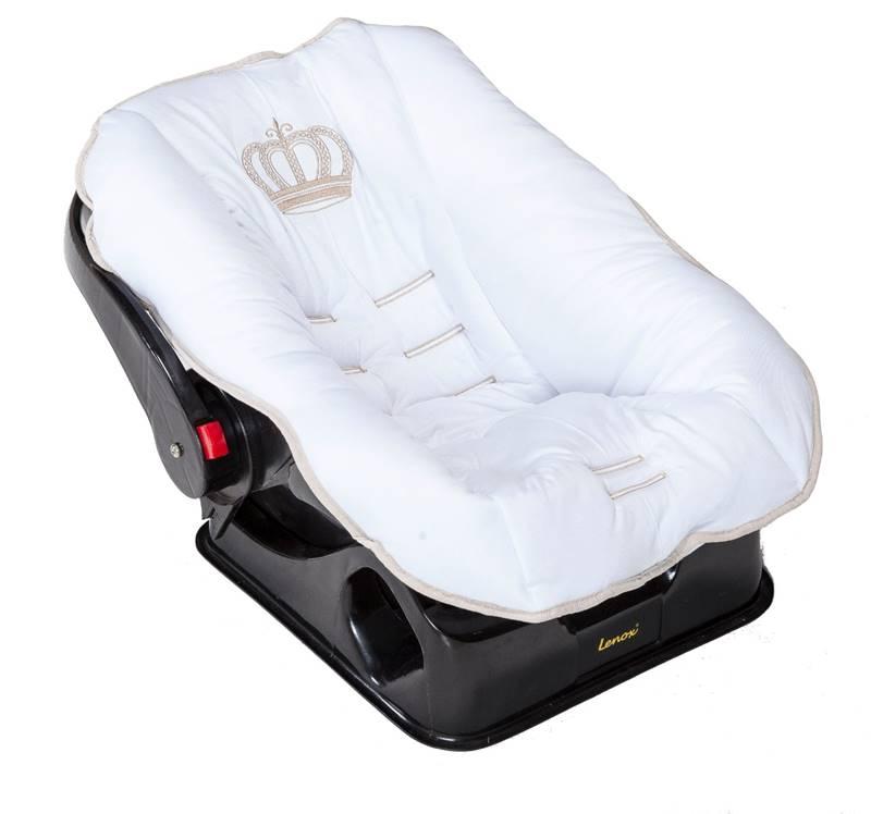 Capa de Bebê Conforto Realeza Branco/Cáqui