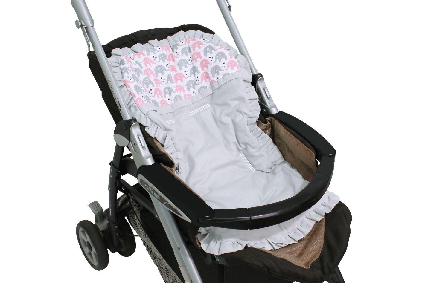 Capa de Carrinho com Almofadinha Elefantinho Rosa  - Toca do Bebê