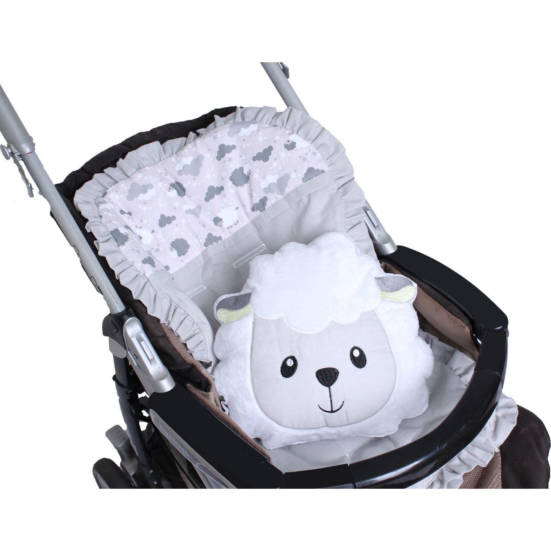 Capa de Carrinho com Almofadinha Ovelha Rosa  - Toca do Bebê