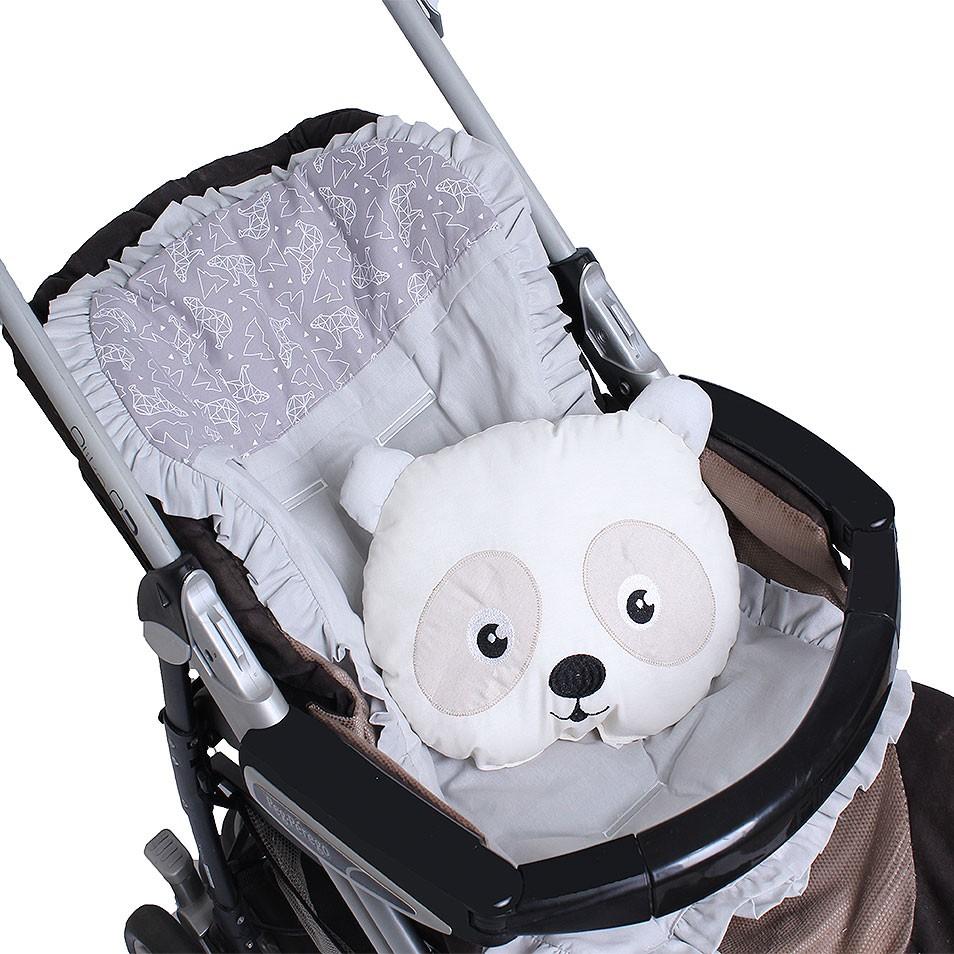 Capa de Carrinho com Almofadinha Urso Dimensional Cinza