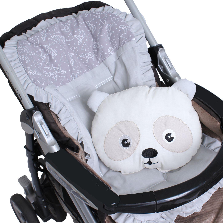 Capa de Carrinho com Almofadinha Urso Dimensional Cinza   - Toca do Bebê