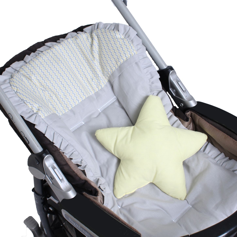 Capa de Carrinho com Almofadinha Zig Zag Amarelo  - Toca do Bebê
