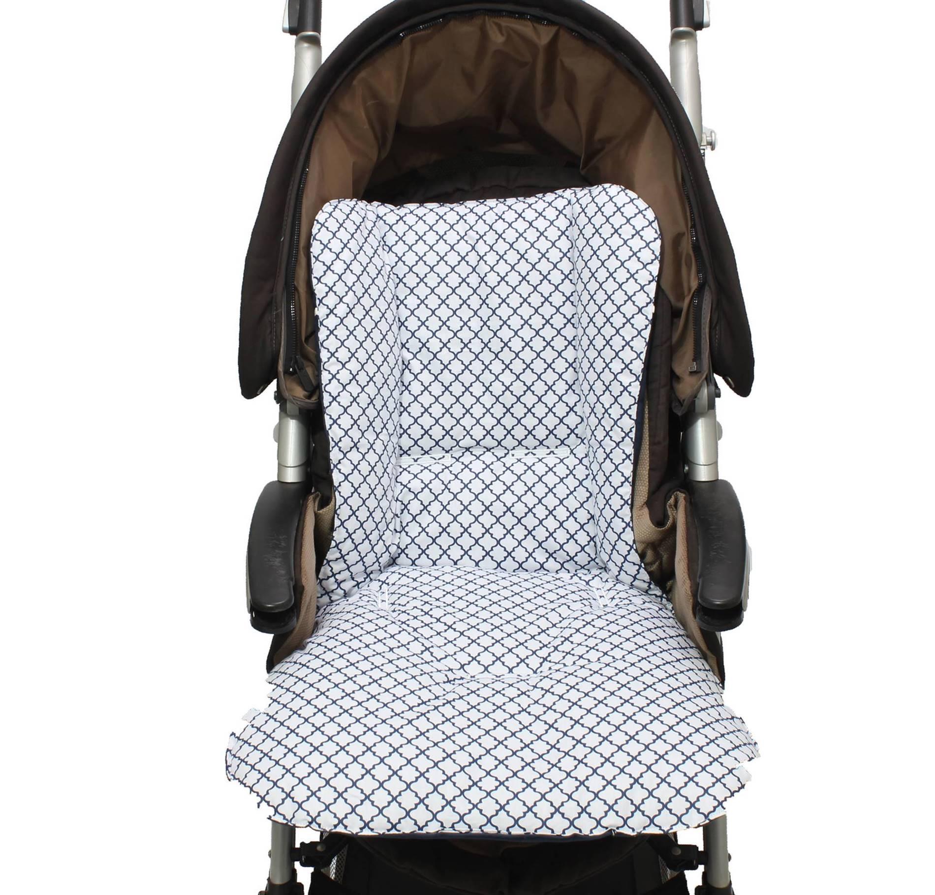 Capa de Carrinho Dupla Face Arabesco Marinho  - Toca do Bebê