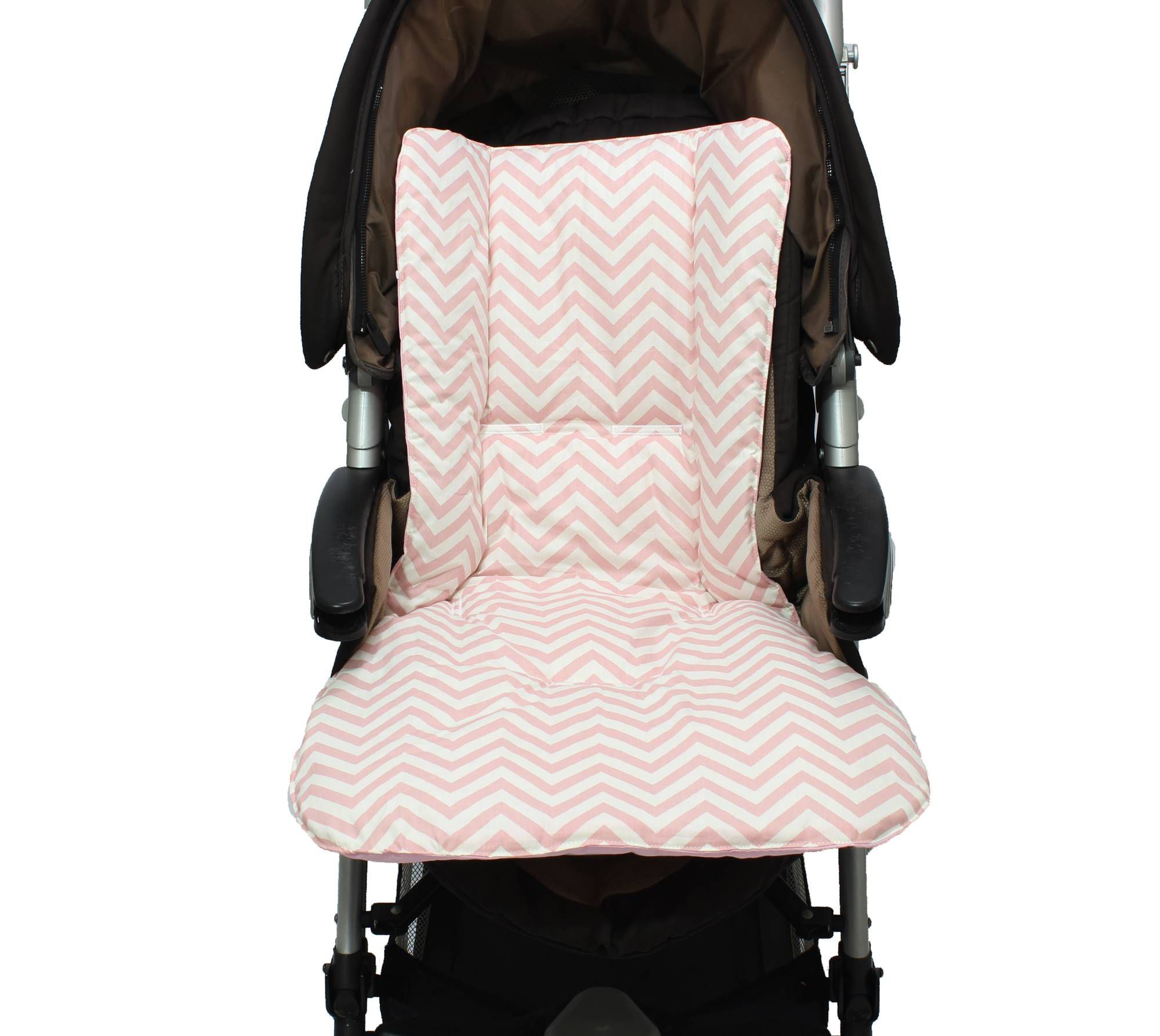 Capa de Carrinho Dupla Face Chevron Rosê  - Toca do Bebê