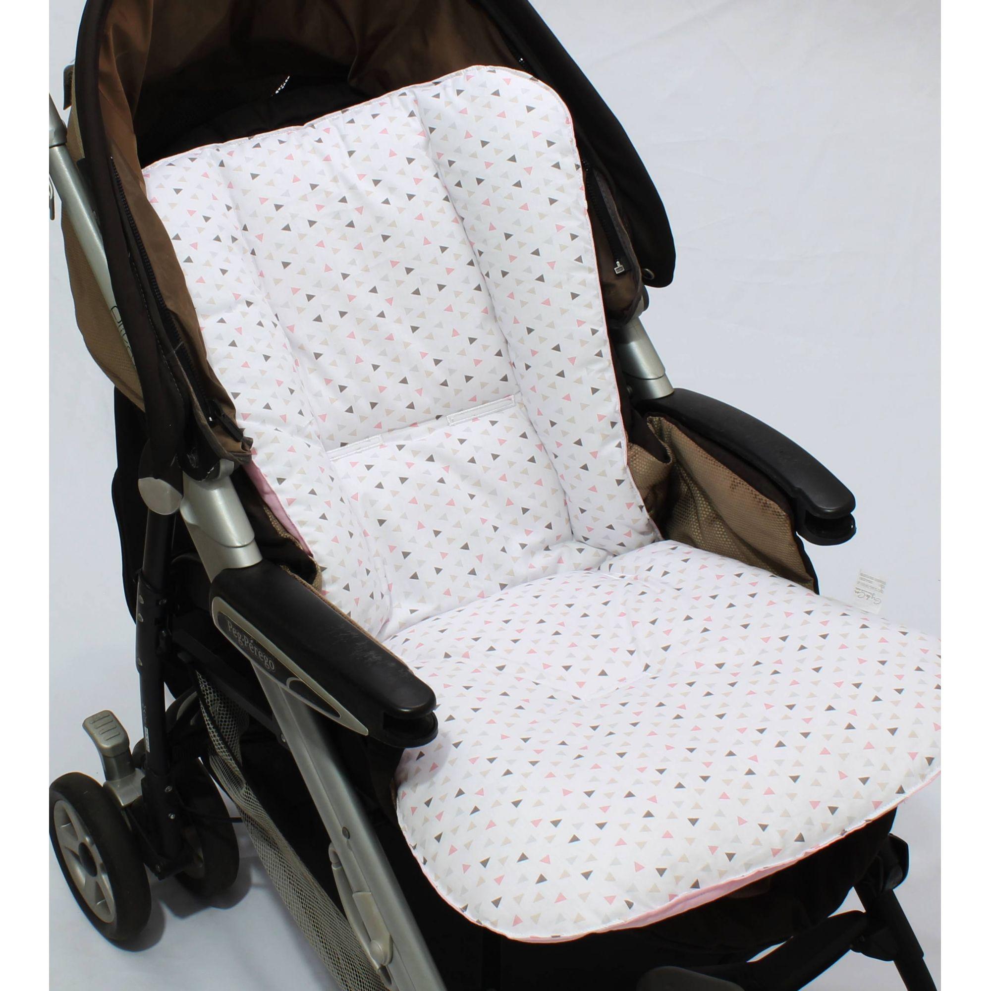 Capa de Carrinho Dupla Face Triângulo Branco com Rosa  - Toca do Bebê