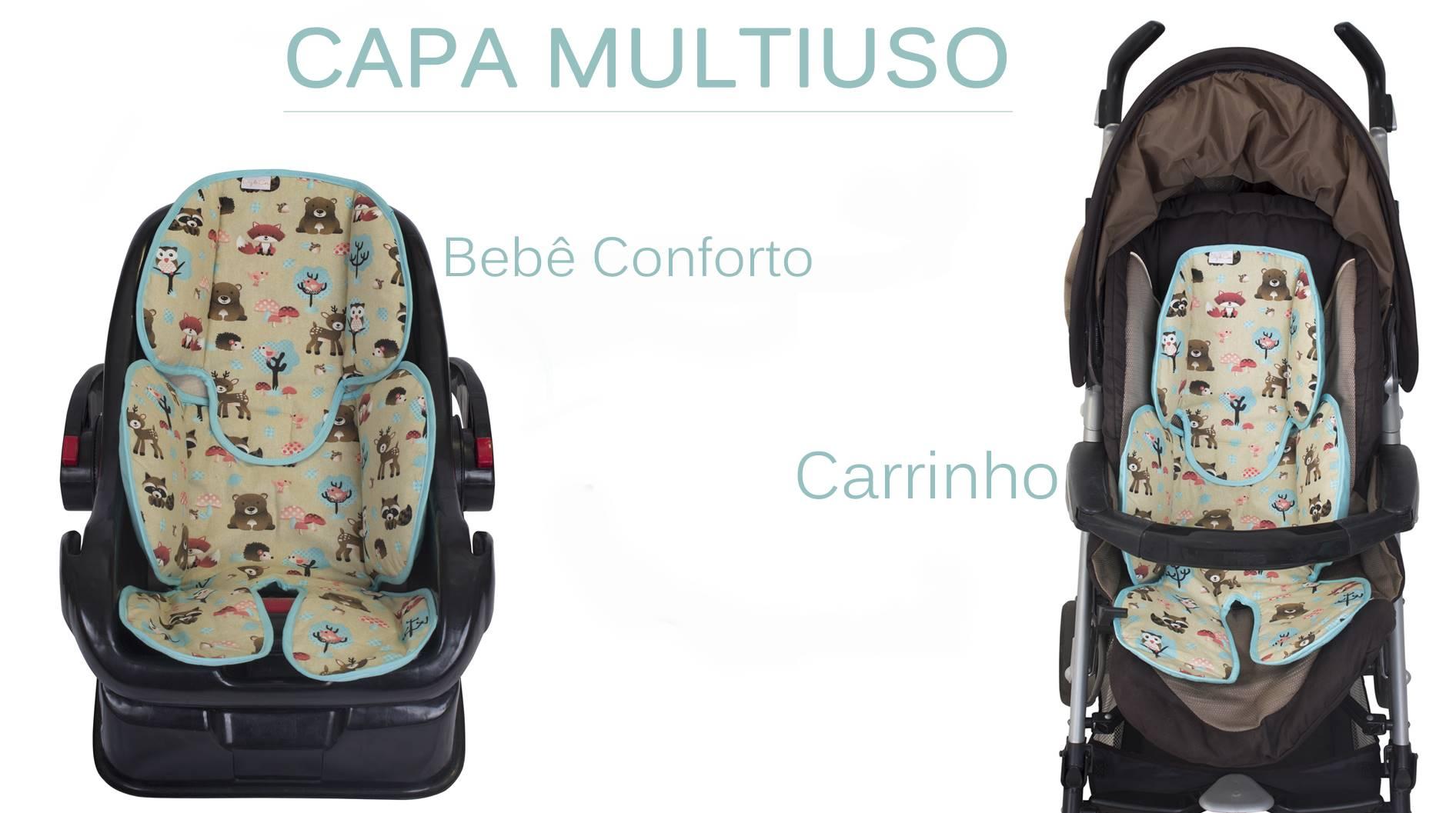 Redutor de Bebê Conforto e Carrinho Triângulo Marinho com Cáqui  - Toca do Bebê