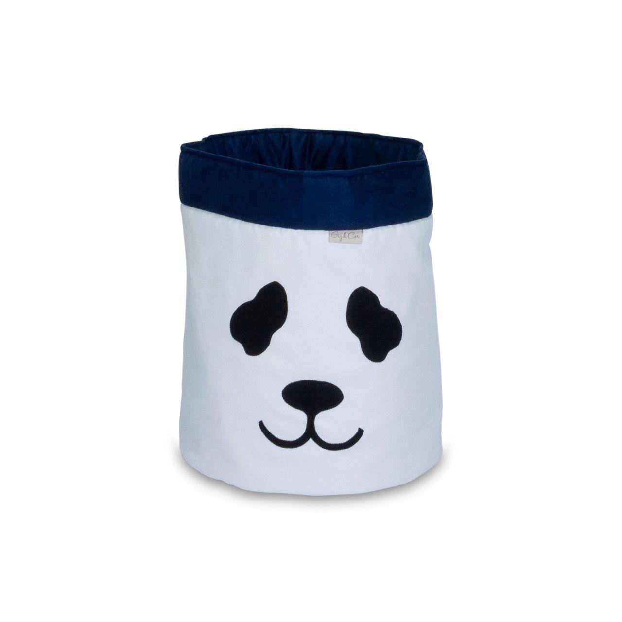 Cesto Organizador Para Brinquedos Panda Cru com Marinho