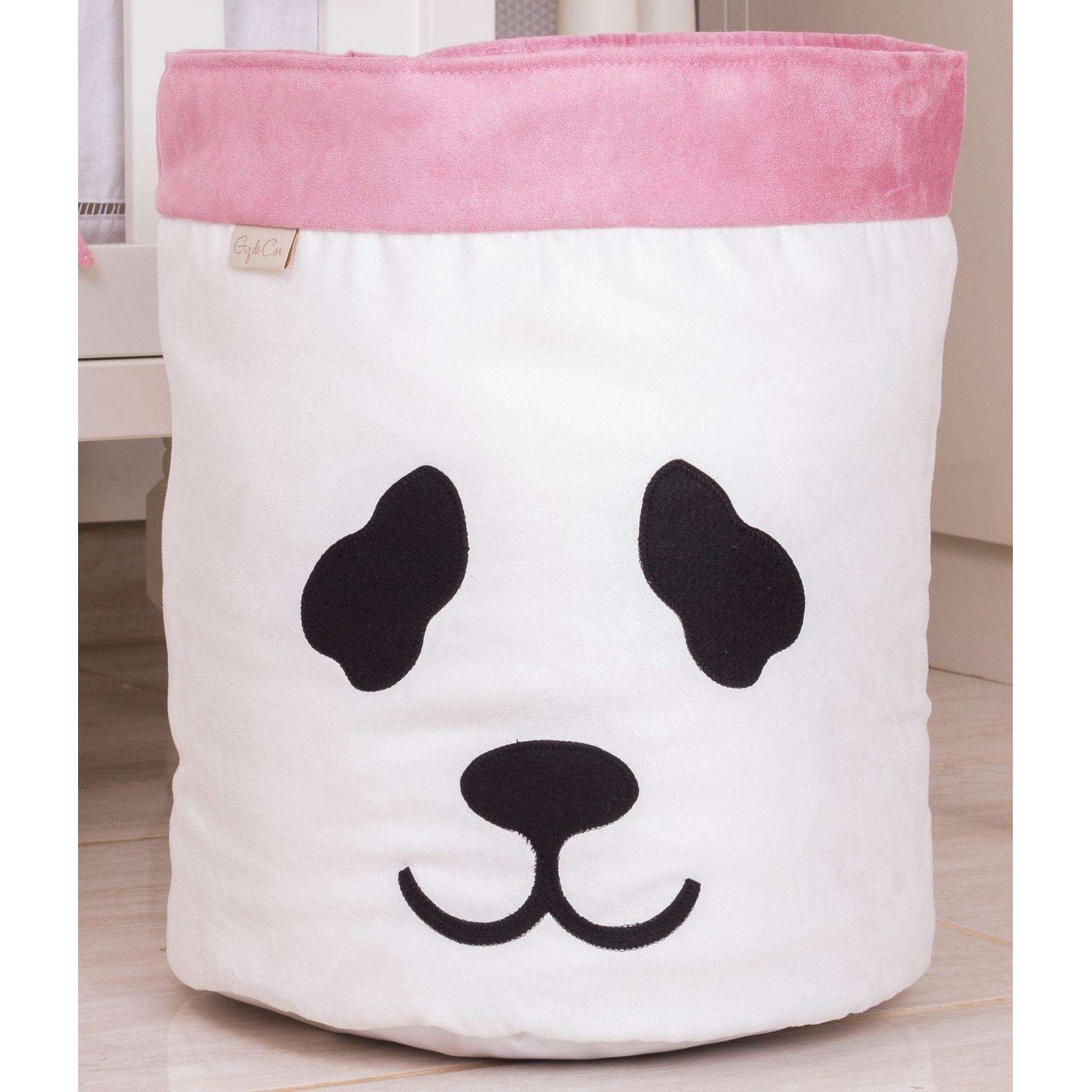 Cesto Organizador Para Brinquedos Panda Cru com Rosê