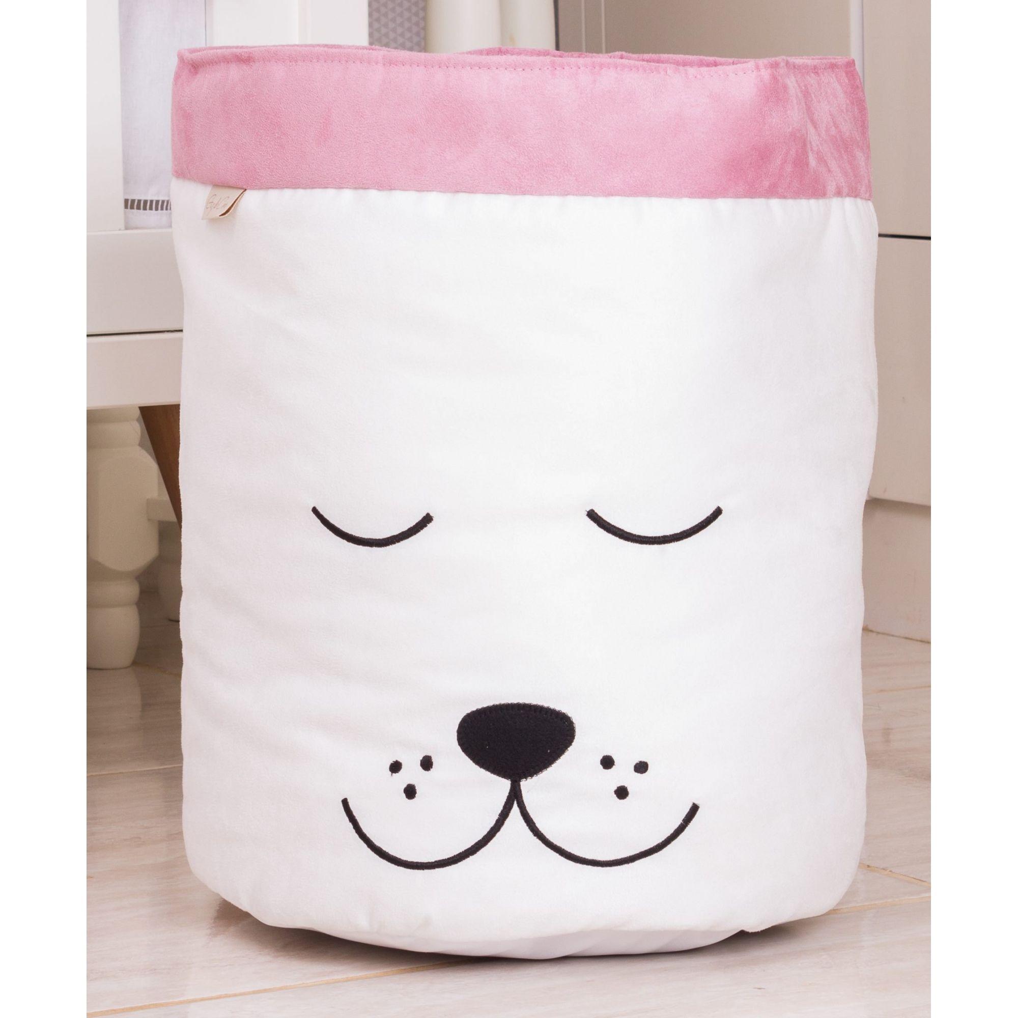 Cesto Organizador para Brinquedos Cachorro Cru com Rosê