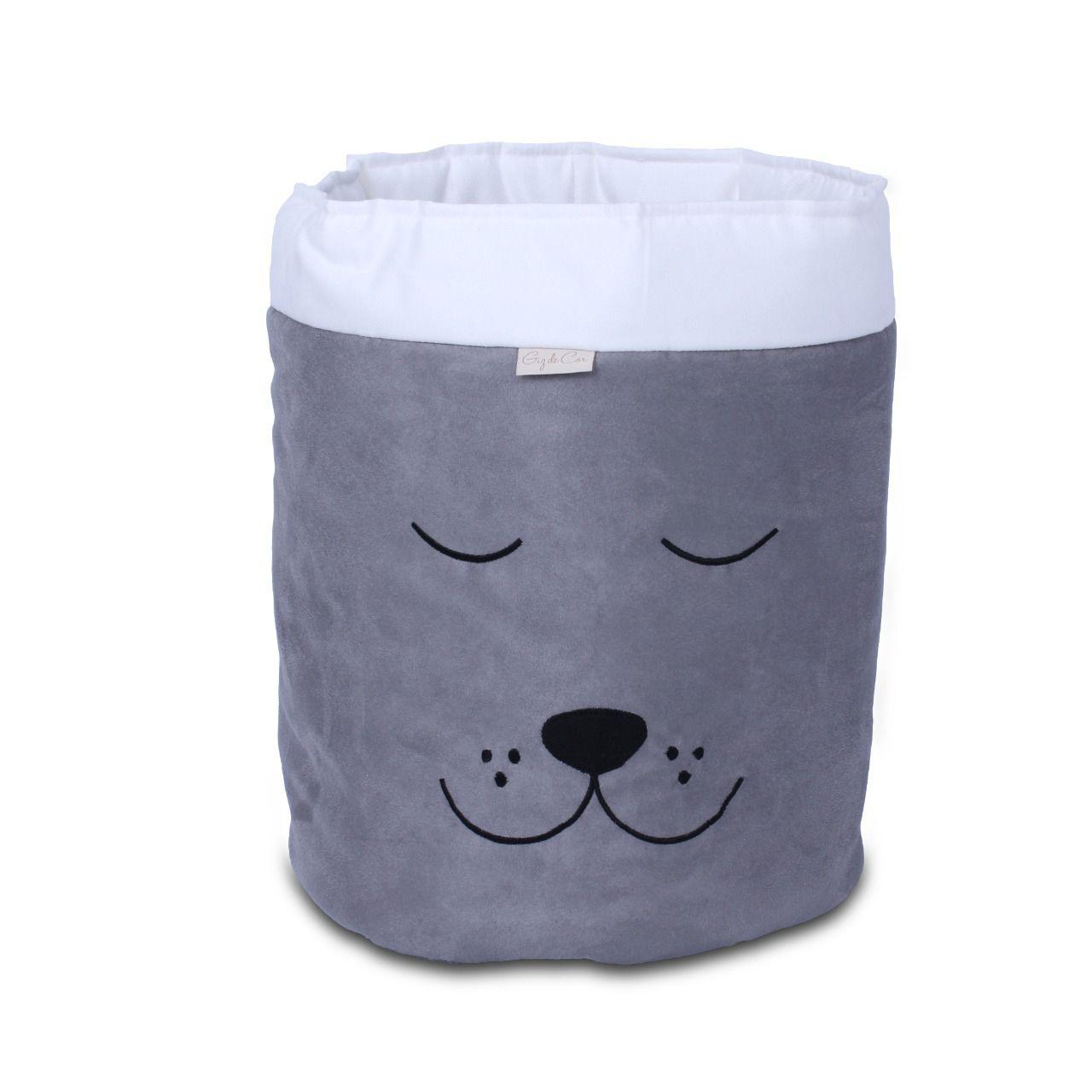 Cesto Organizador Para Brinquedos Cachorro Cinza com Cru