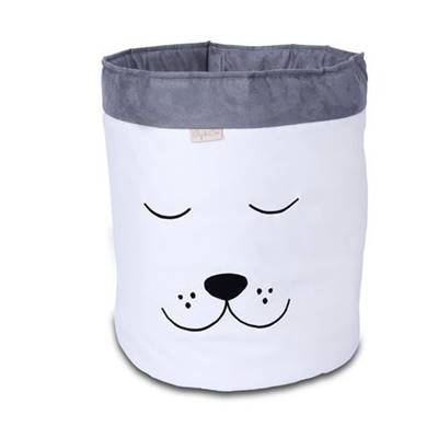 Cesto Organizador Para Brinquedos Cachorro Cru com Cinza