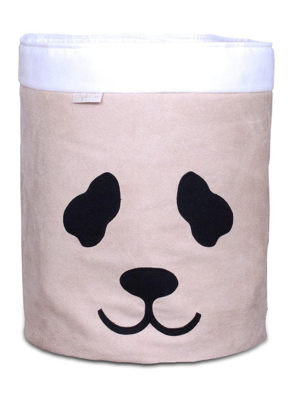 Cesto Organizador Para Brinquedos Panda Cáqui com Cru