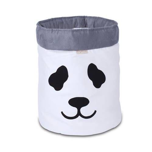 Cesto Organizador Para Brinquedos Panda Cru com Cinza