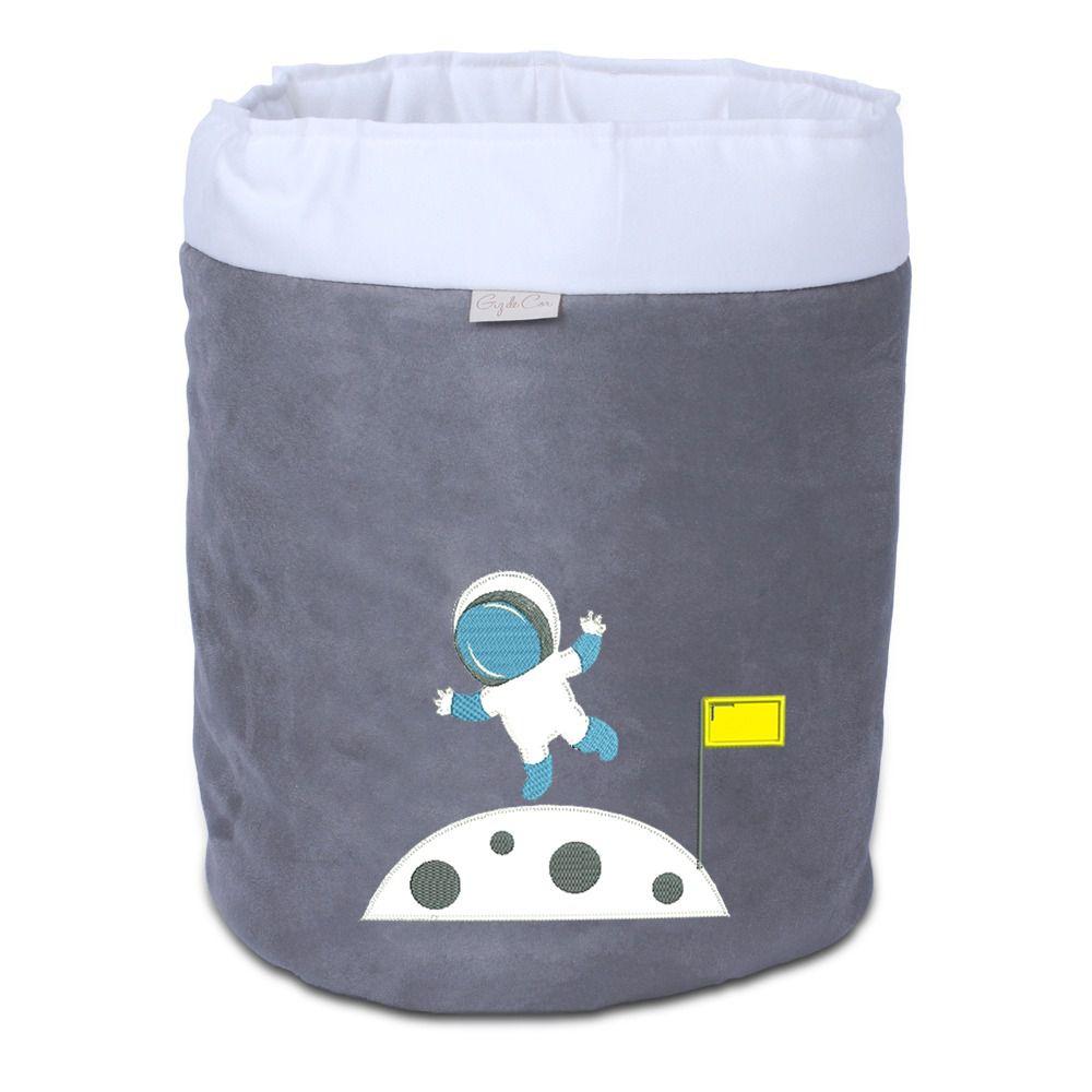 Cesto Organizador Para Brinquedos Astronauta Cinza com Cru  - Toca do Bebê