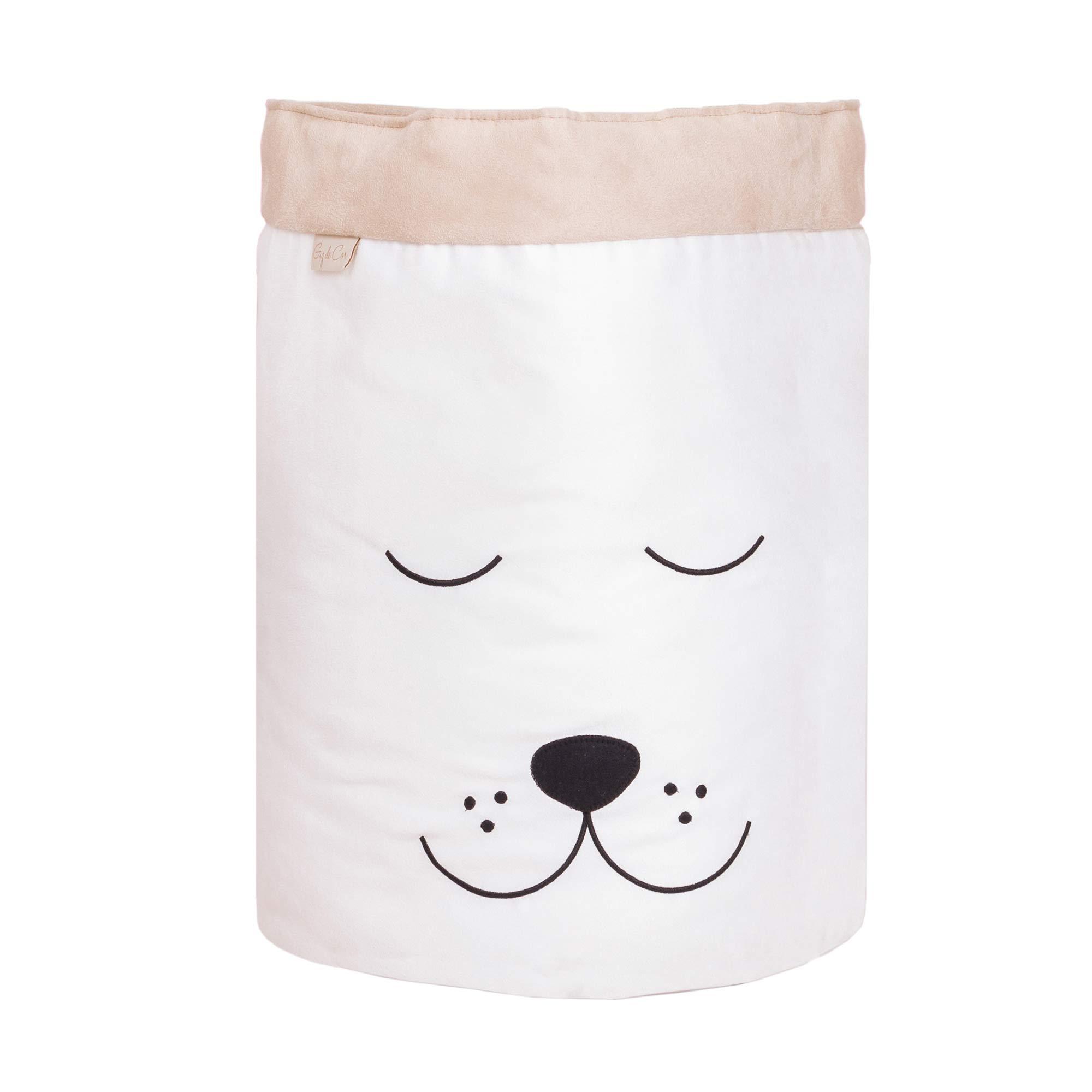 Cesto Organizador para Brinquedos Cachorro Cru com Cáqui  - Toca do Bebê