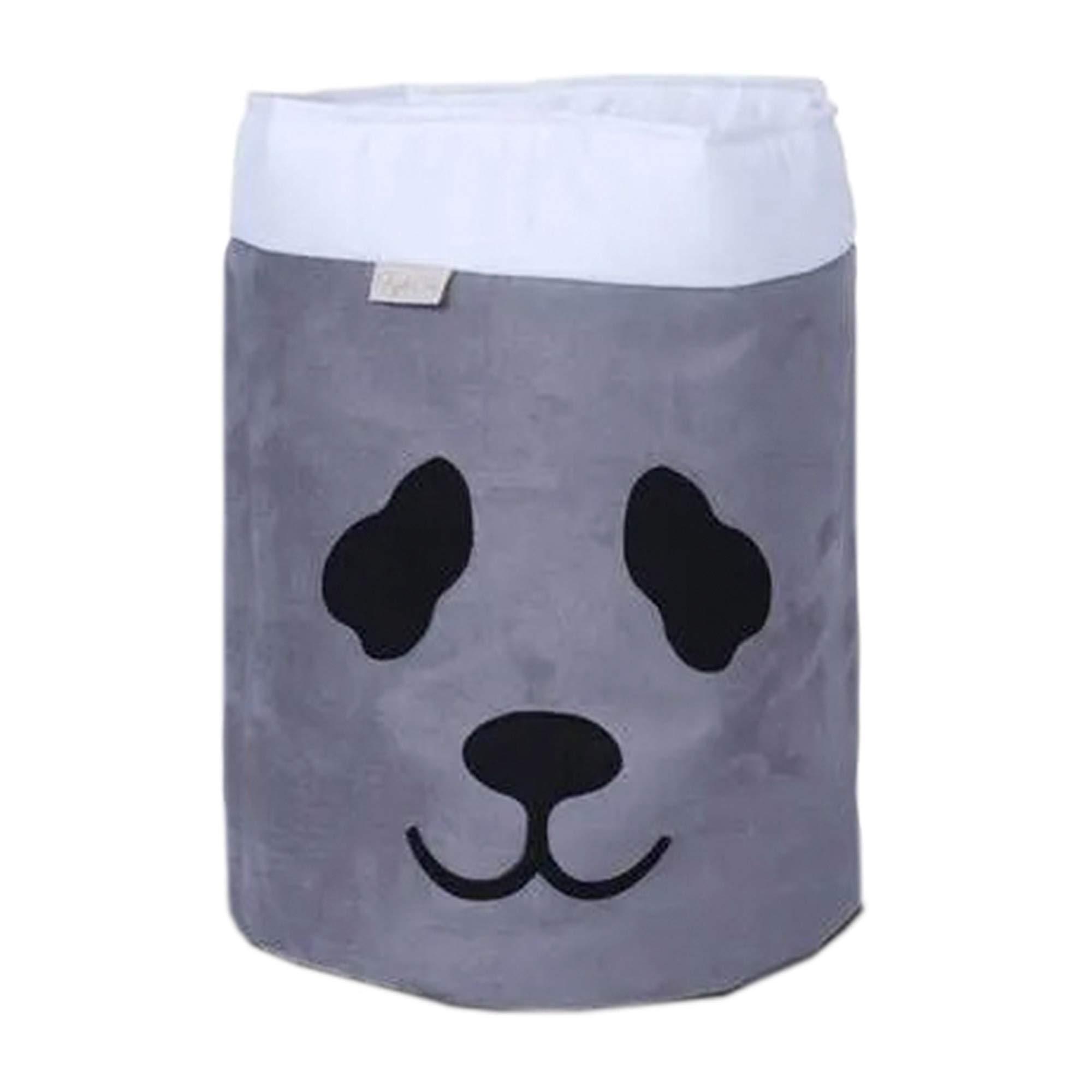 Cesto Organizador Para Brinquedos Panda Cinza com Cru