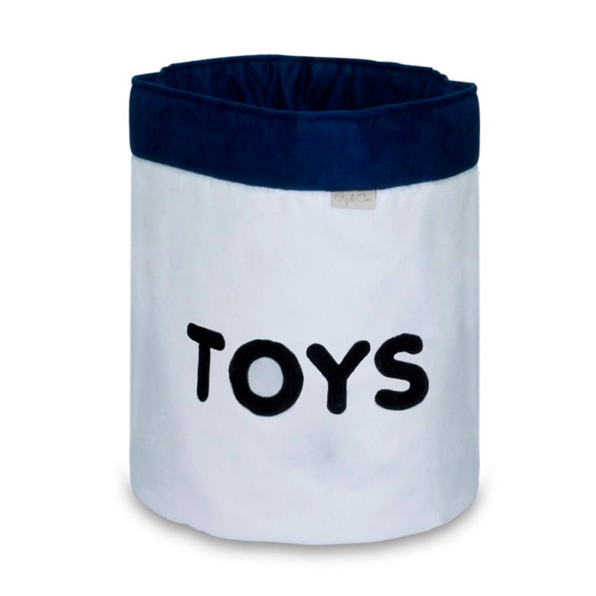 Cesto Organizador Para Brinquedos TOYS Cru com Marinho