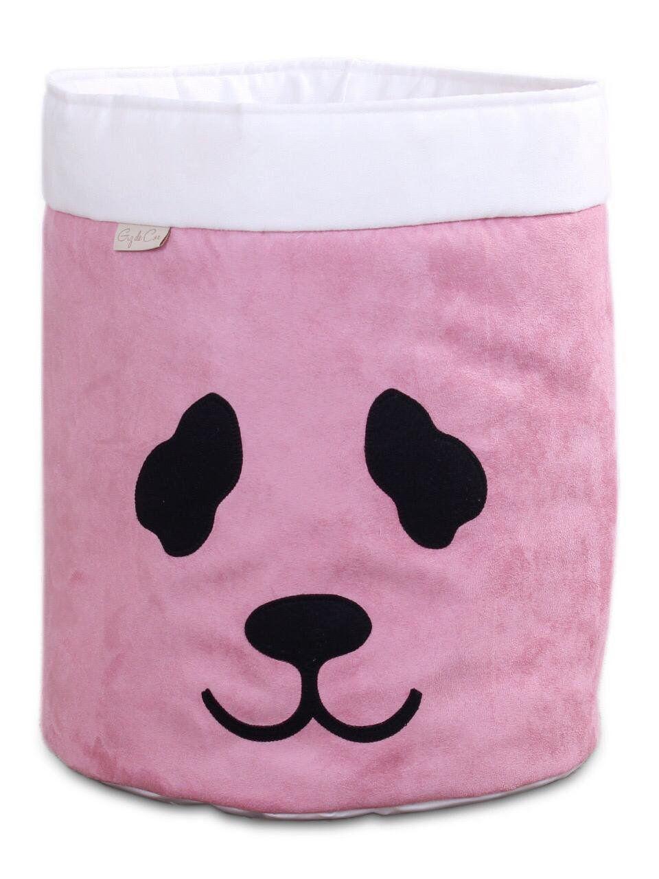 Cesto Organizador Para Brinquedos Panda Rosê com Cru