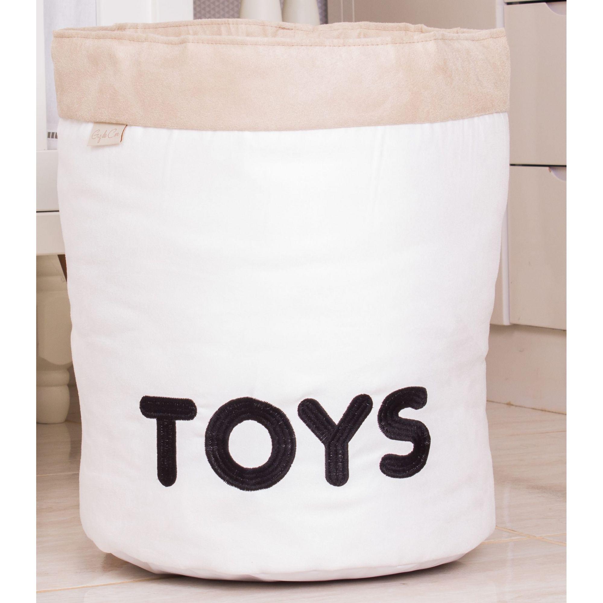 Cesto Organizador Para Brinquedos TOYS Cru com Cáqui