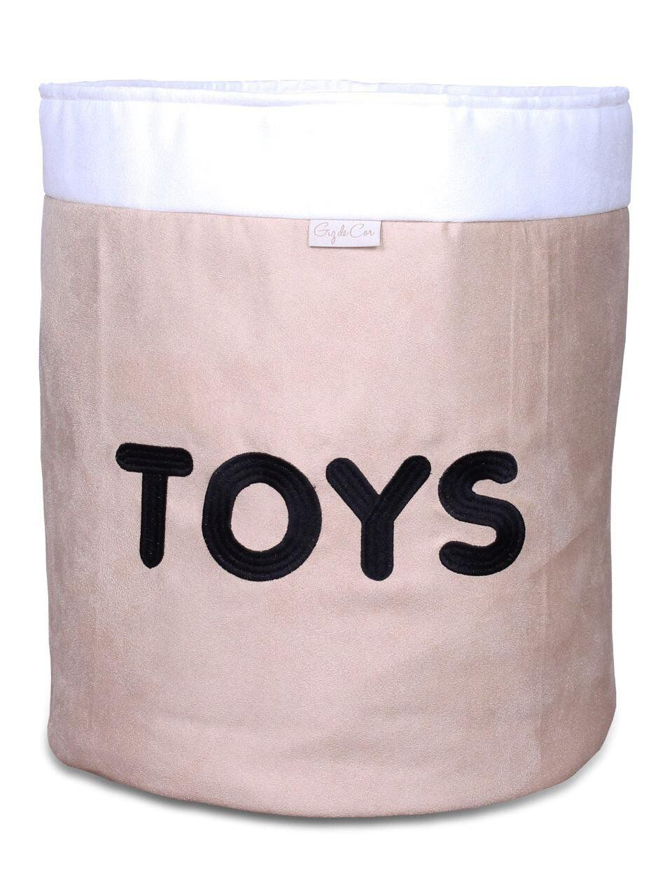 Cesto Organizador Para Brinquedos TOYS Cáqui com Cru