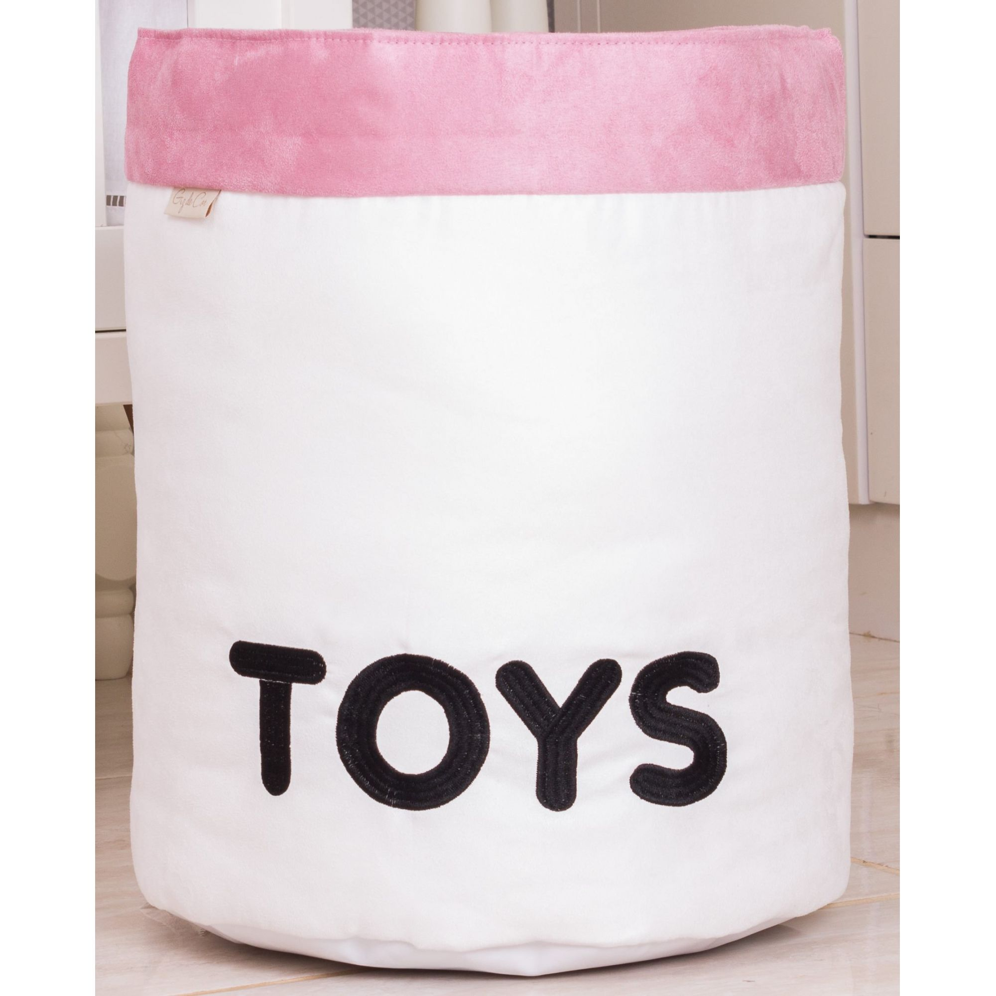 Cesto Organizador Para Brinquedos TOYS Cru com Rosê