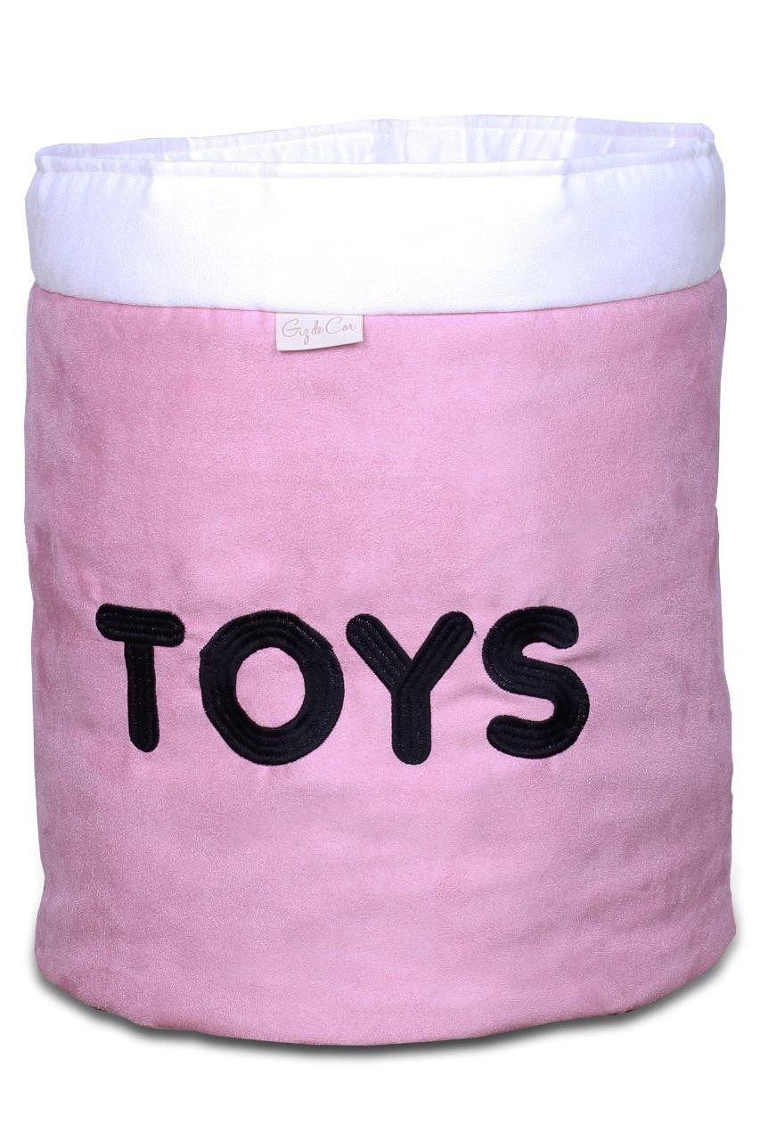 Cesto Organizador Para Brinquedos TOYS Rosê com Cru  - Toca do Bebê
