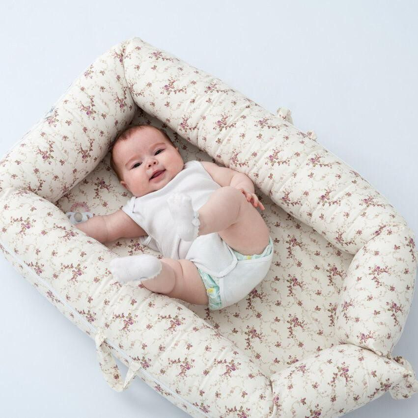 Ninho para Bebê Redutor de Berço  com Zíper Floral Palha