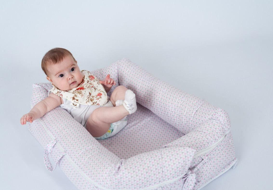 Ninho para Bebê Redutor de Berço com Zíper Triângulo Rosa