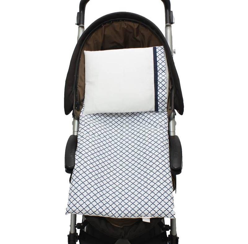 Colchonete Para Carrinho Arabesco Marinho 02 Peças  - Toca do Bebê