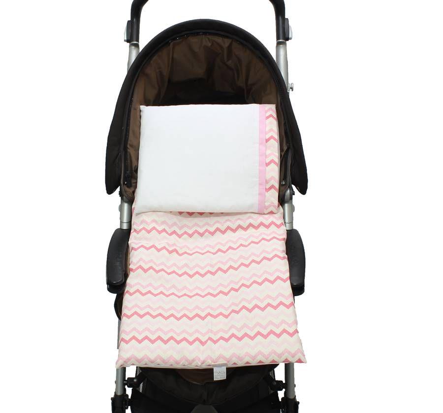 Colchonete Para Carrinho Chevron  Pink 02 peças  - Toca do Bebê