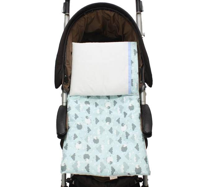 Colchonete Para Carrinho Ovelha Azul 02 Peças  - Toca do Bebê