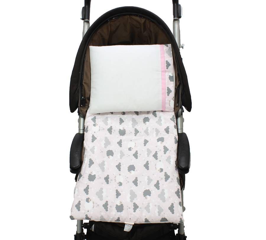 Colchonete Para Carrinho Ovelha Rosa 02 Peças   - Toca do Bebê